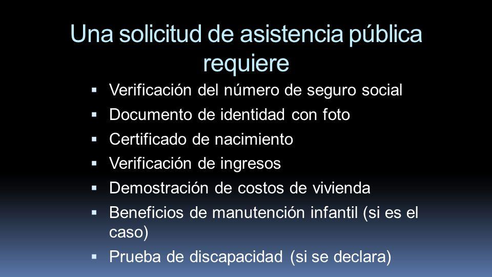 Una solicitud de asistencia pública requiere Verificación del número de seguro social Documento de identidad con foto Certificado de nacimiento Verifi