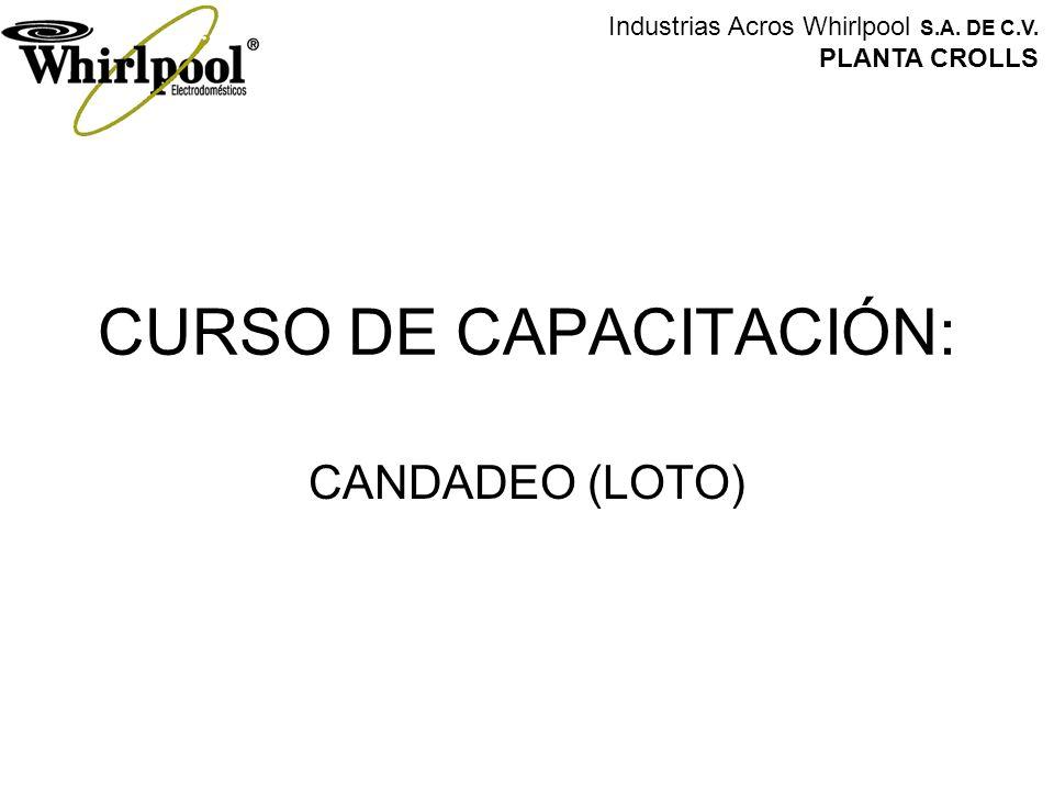 CURSO DE CAPACITACIÓN: CANDADEO (LOTO) Industrias Acros Whirlpool S.A. DE C.V. PLANTA CROLLS