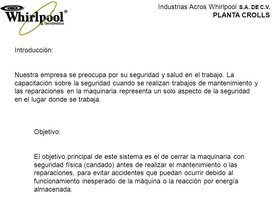 Industrias Acros Whirlpool S.A. DE C.V. PLANTA CROLLS Introducción: Nuestra empresa se preocupa por su seguridad y salud en el trabajo. La capacitació