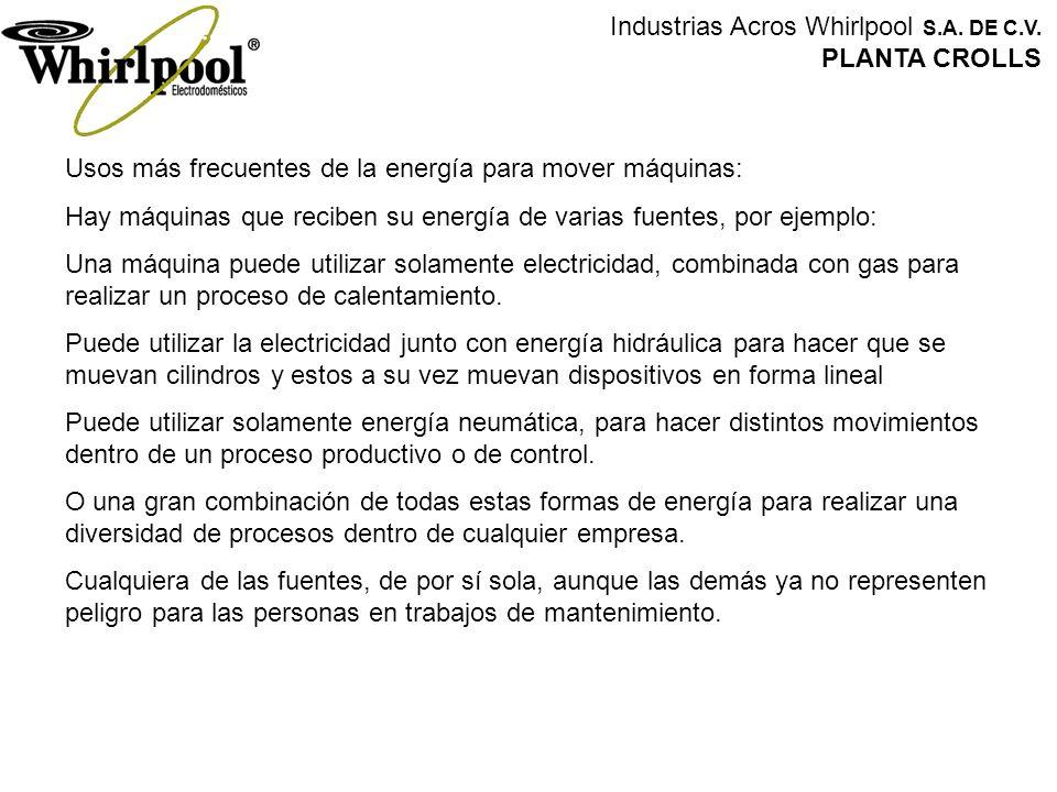 Industrias Acros Whirlpool S.A. DE C.V. PLANTA CROLLS Usos más frecuentes de la energía para mover máquinas: Hay máquinas que reciben su energía de va