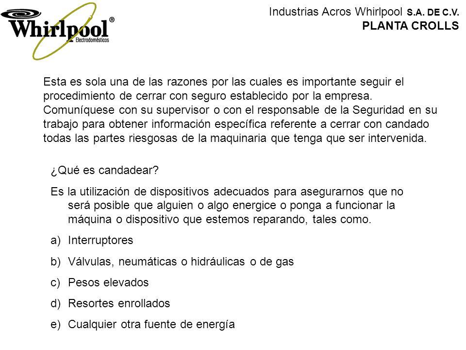 Industrias Acros Whirlpool S.A. DE C.V. PLANTA CROLLS Esta es sola una de las razones por las cuales es importante seguir el procedimiento de cerrar c