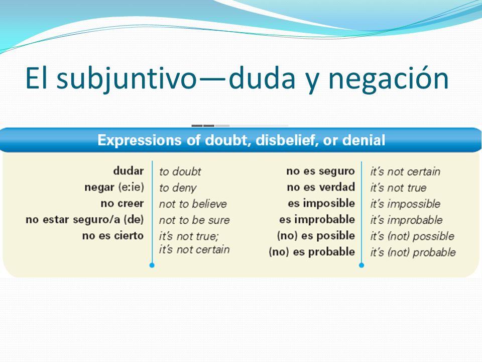 El subjuntivoduda y negación