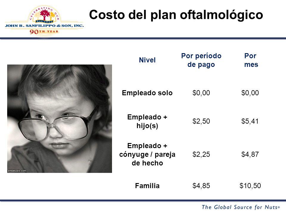 Nivel Por período de pago Por mes Empleado solo$0,00 Empleado + hijo(s) $2,50$5,41 Empleado + cónyuge / pareja de hecho $2,25$4,87 Familia$4,85$10,50 Costo del plan oftalmológico