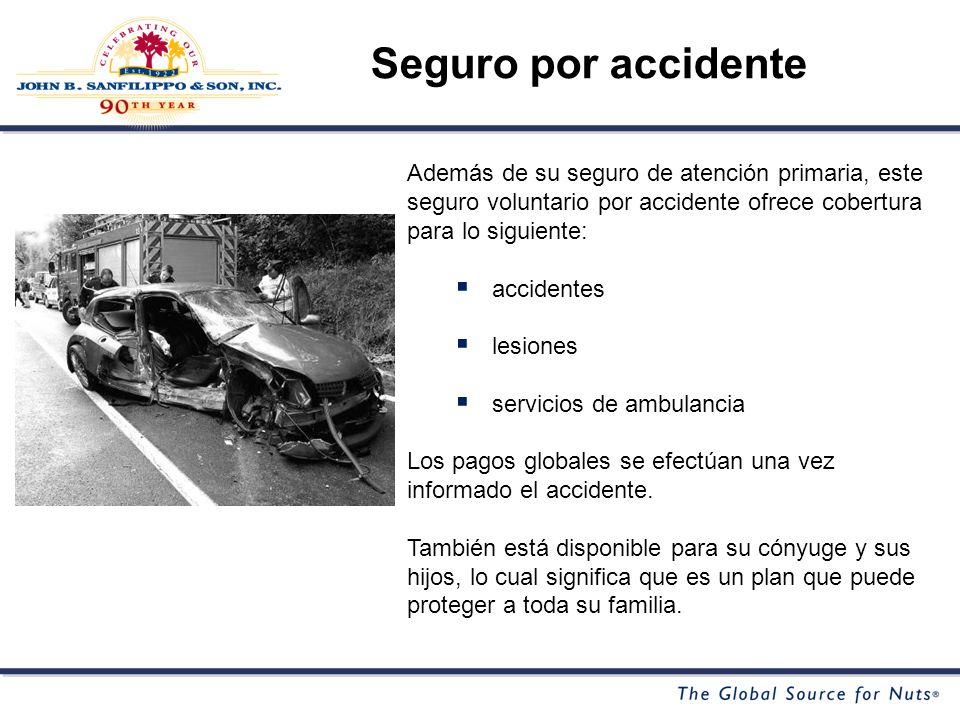 Además de su seguro de atención primaria, este seguro voluntario por accidente ofrece cobertura para lo siguiente: accidentes lesiones servicios de ambulancia Los pagos globales se efectúan una vez informado el accidente.