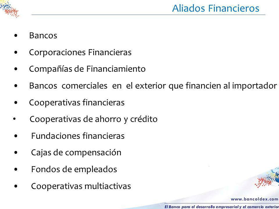Bancos Corporaciones Financieras Compañías de Financiamiento Bancos comerciales en el exterior que financien al importador Cooperativas financieras Co