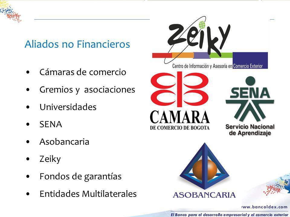 Aliados no Financieros Cámaras de comercio Gremios y asociaciones Universidades SENA Asobancaria Zeiky Fondos de garantías Entidades Multilaterales