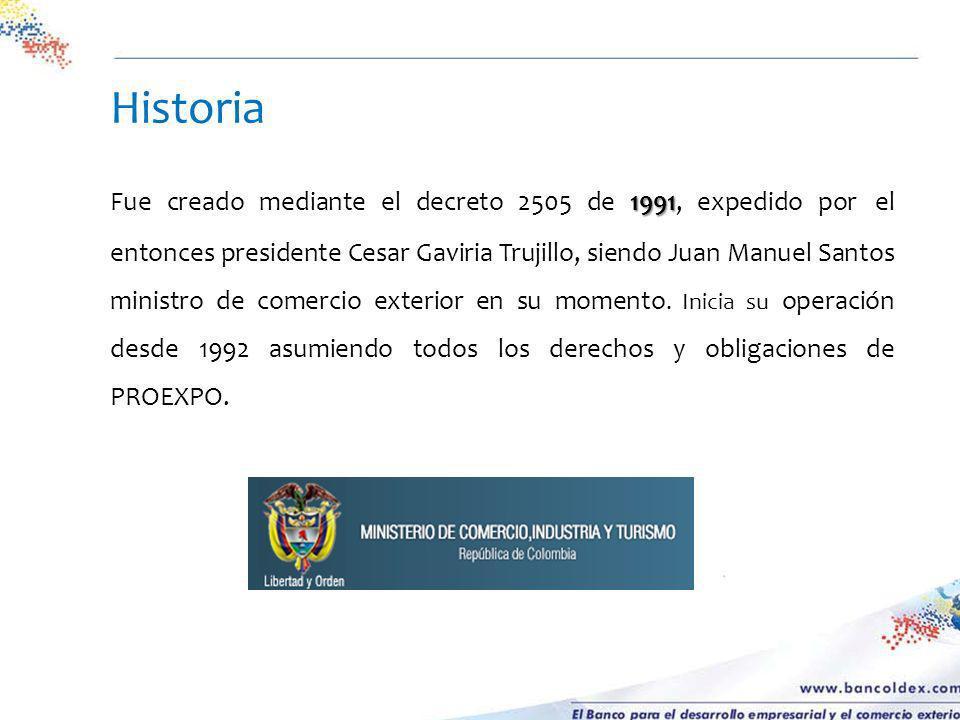 Accionistas, % de participación 1991 Fue creado mediante el decreto 2505 de 1991, expedido por el entonces presidente Cesar Gaviria Trujillo, siendo J