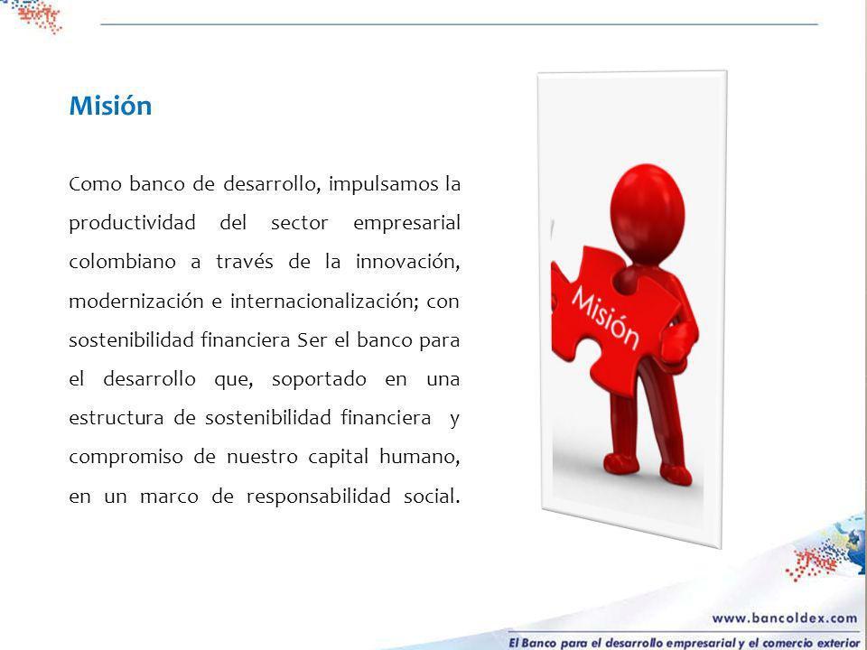 Misión Como banco de desarrollo, impulsamos la productividad del sector empresarial colombiano a través de la innovación, modernización e internaciona