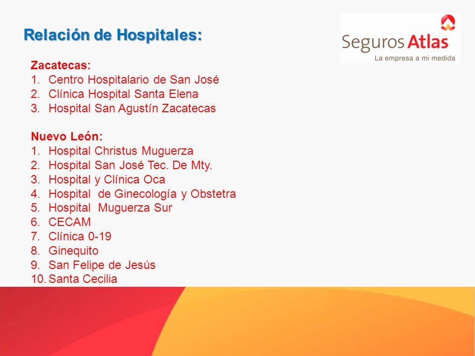 Relación de Hospitales: Zacatecas: 1.Centro Hospitalario de San José 2.Clínica Hospital Santa Elena 3.Hospital San Agustín Zacatecas Nuevo León: 1.Hospital Christus Muguerza 2.Hospital San José Tec.
