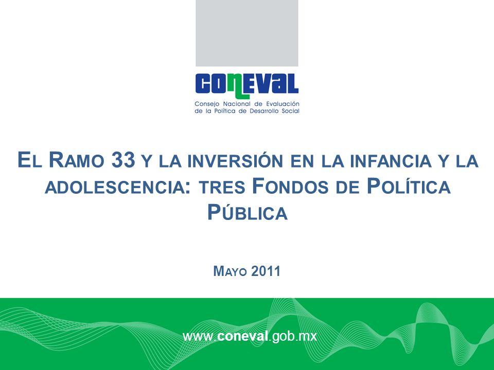 www.coneval.gob.mx M AYO 2011 E L R AMO 33 Y LA INVERSIÓN EN LA INFANCIA Y LA ADOLESCENCIA : TRES F ONDOS DE P OLÍTICA P ÚBLICA