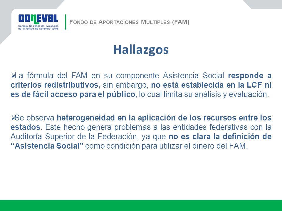 Hallazgos La fórmula del FAM en su componente Asistencia Social responde a criterios redistributivos, sin embargo, no está establecida en la LCF ni es de fácil acceso para el público, lo cual limita su análisis y evaluación.