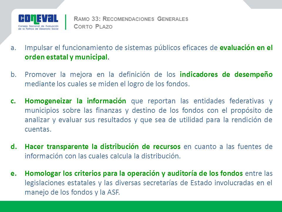 R AMO 33: R ECOMENDACIONES G ENERALES a.Impulsar el funcionamiento de sistemas públicos eficaces de evaluación en el orden estatal y municipal.