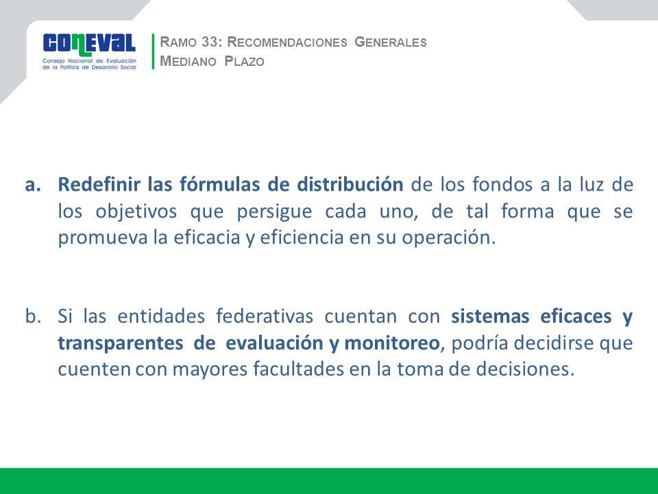 R AMO 33: R ECOMENDACIONES G ENERALES a.Redefinir las fórmulas de distribución de los fondos a la luz de los objetivos que persigue cada uno, de tal forma que se promueva la eficacia y eficiencia en su operación.