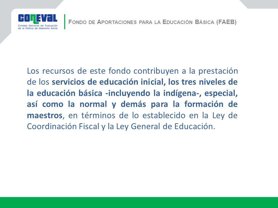 F ONDO DE A PORTACIONES PARA LA E DUCACIÓN B ÁSICA (FAEB) Los recursos de este fondo contribuyen a la prestación de los servicios de educación inicial, los tres niveles de la educación básica -incluyendo la indígena-, especial, así como la normal y demás para la formación de maestros, en términos de lo establecido en la Ley de Coordinación Fiscal y la Ley General de Educación.
