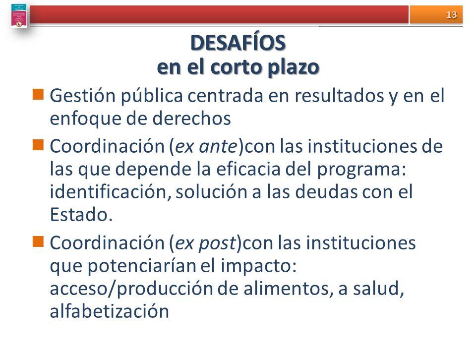 DESAFÍOS en el corto plazo Gestión pública centrada en resultados y en el enfoque de derechos Coordinación (ex ante)con las instituciones de las que depende la eficacia del programa: identificación, solución a las deudas con el Estado.