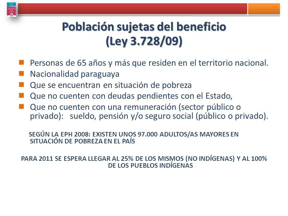 Población sujetas del beneficio (Ley 3.728/09) Personas de 65 años y más que residen en el territorio nacional. Nacionalidad paraguaya Que se encuentr