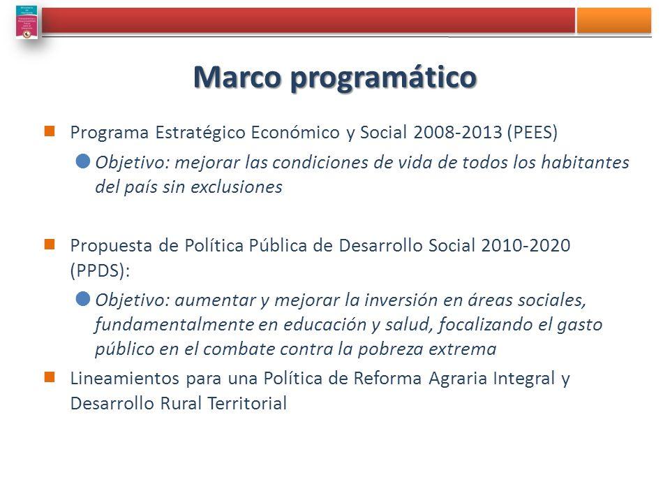 Marco programático Programa Estratégico Económico y Social 2008-2013 (PEES) Objetivo: mejorar las condiciones de vida de todos los habitantes del país