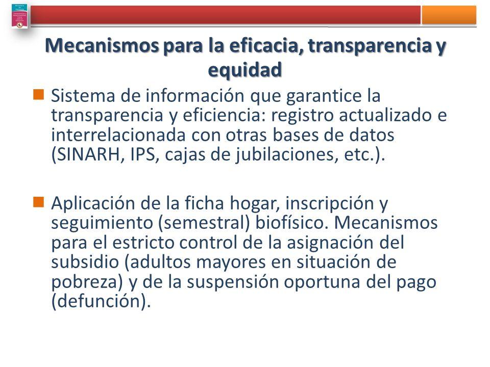 Mecanismos para la eficacia, transparencia y equidad Sistema de información que garantice la transparencia y eficiencia: registro actualizado e interrelacionada con otras bases de datos (SINARH, IPS, cajas de jubilaciones, etc.).