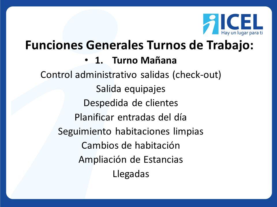 Funciones Generales Turnos de Trabajo: 1.Turno Mañana Control administrativo salidas (check-out) Salida equipajes Despedida de clientes Planificar ent