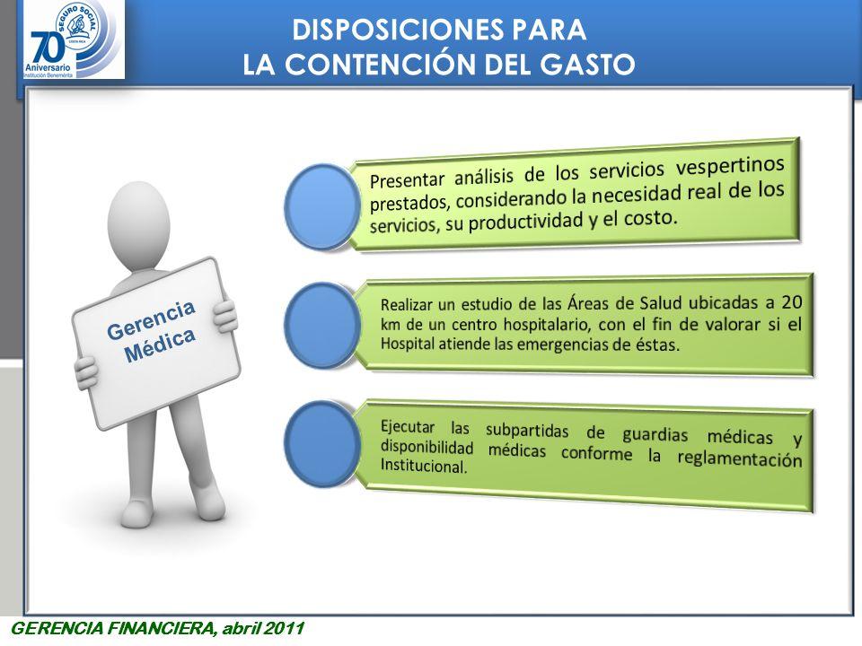 DISPOSICIONES PARA LA CONTENCIÓN DEL GASTO DISPOSICIONES PARA LA CONTENCIÓN DEL GASTO GERENCIA FINANCIERA, abril 2011 Gerencia Médica 1 2 3 4