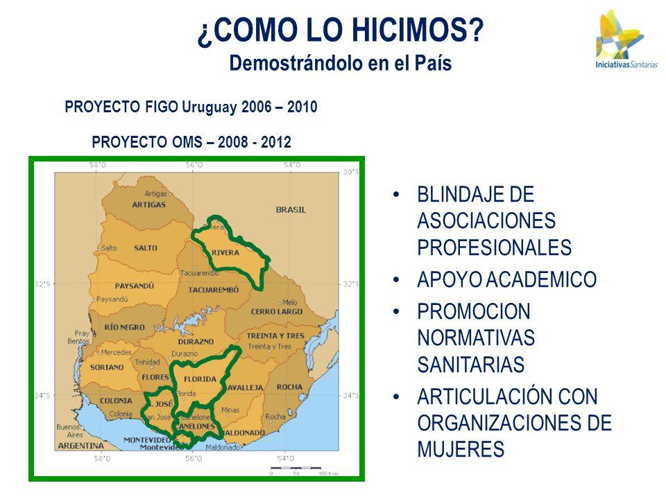 PROYECTO FIGO Uruguay 2006 – 2010 PROYECTO OMS – 2008 - 2012 ¿COMO LO HICIMOS? Demostrándolo en el País BLINDAJE DE ASOCIACIONES PROFESIONALES APOYO A