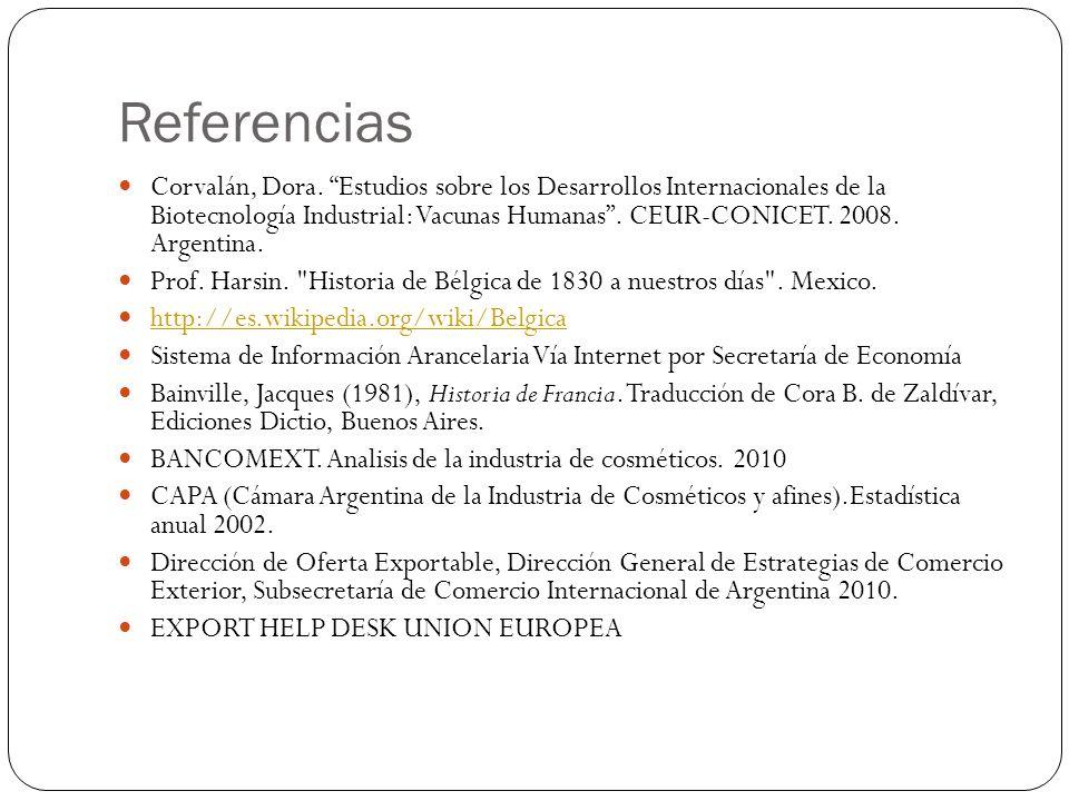 Referencias Corvalán, Dora. Estudios sobre los Desarrollos Internacionales de la Biotecnología Industrial: Vacunas Humanas. CEUR-CONICET. 2008. Argent