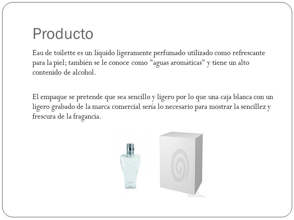 Producto Eau de toilette es un líquido ligeramente perfumado utilizado como refrescante para la piel; también se le conoce como