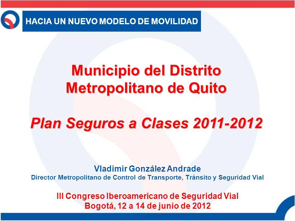 Vladimir González Andrade Director Metropolitano de Control de Transporte, Tránsito y Seguridad Vial III Congreso Iberoamericano de Seguridad Vial Bog