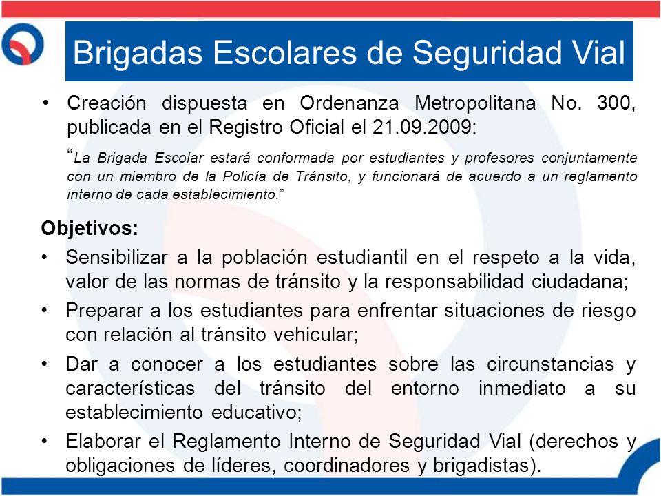 Creación dispuesta en Ordenanza Metropolitana No. 300, publicada en el Registro Oficial el 21.09.2009: La Brigada Escolar estará conformada por estudi