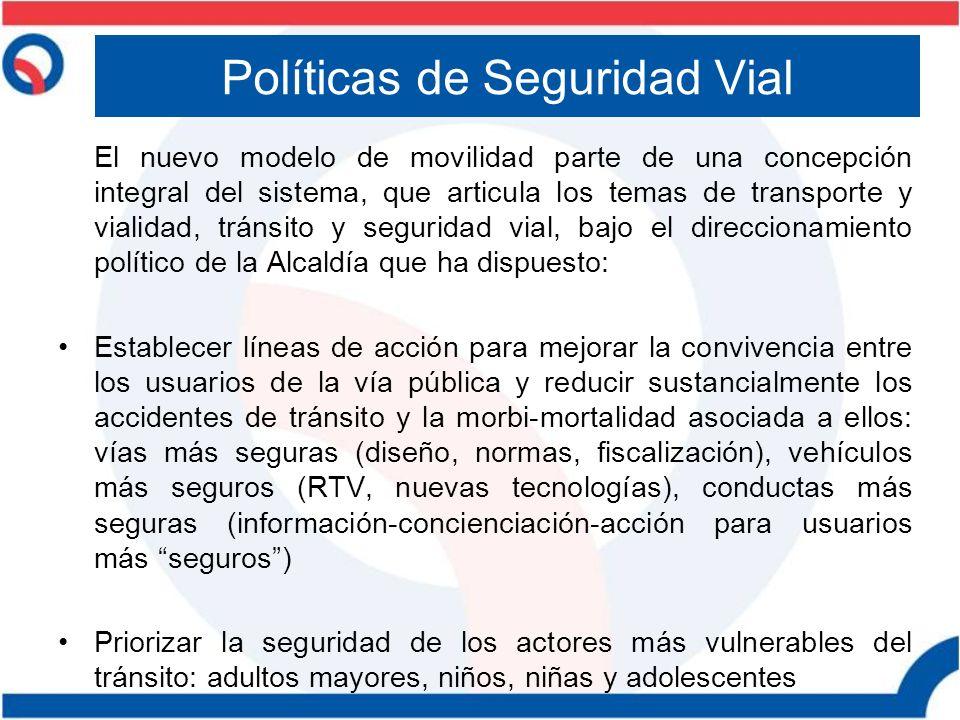 Políticas de Seguridad Vial El nuevo modelo de movilidad parte de una concepción integral del sistema, que articula los temas de transporte y vialidad