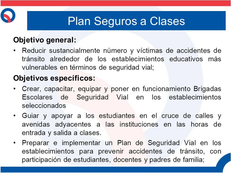 Plan Seguros a Clases Objetivo general: Reducir sustancialmente número y víctimas de accidentes de tránsito alrededor de los establecimientos educativ