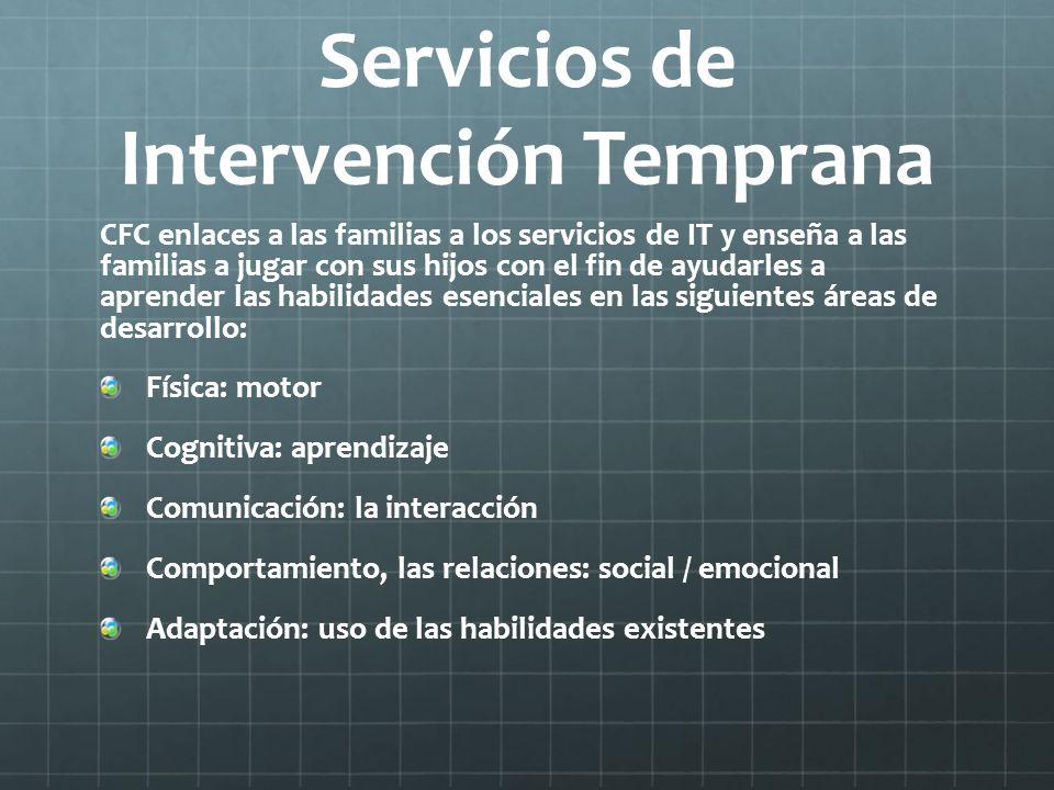Servicios de Intervención Temprana CFC enlaces a las familias a los servicios de IT y enseña a las familias a jugar con sus hijos con el fin de ayudar