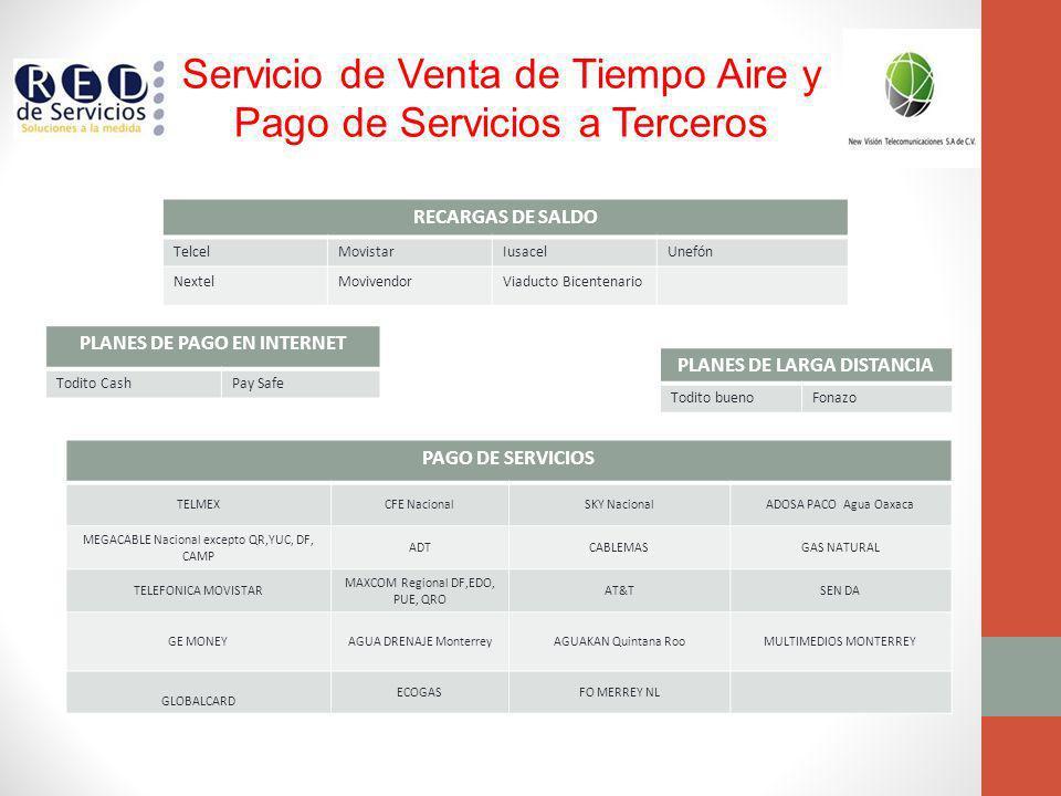 Servicio de Venta de Tiempo Aire y Pago de Servicios a Terceros PAGO DE SERVICIOS TELMEXCFE NacionalSKY NacionalADOSA PACO Agua Oaxaca MEGACABLE Nacio