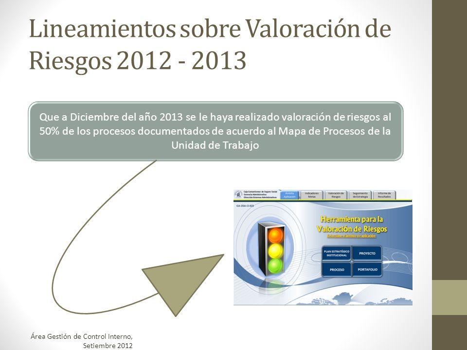 Lineamientos sobre Valoración de Riesgos 2012 - 2013 Que a Diciembre del año 2013 se le haya realizado valoración de riesgos al 50% de los procesos do