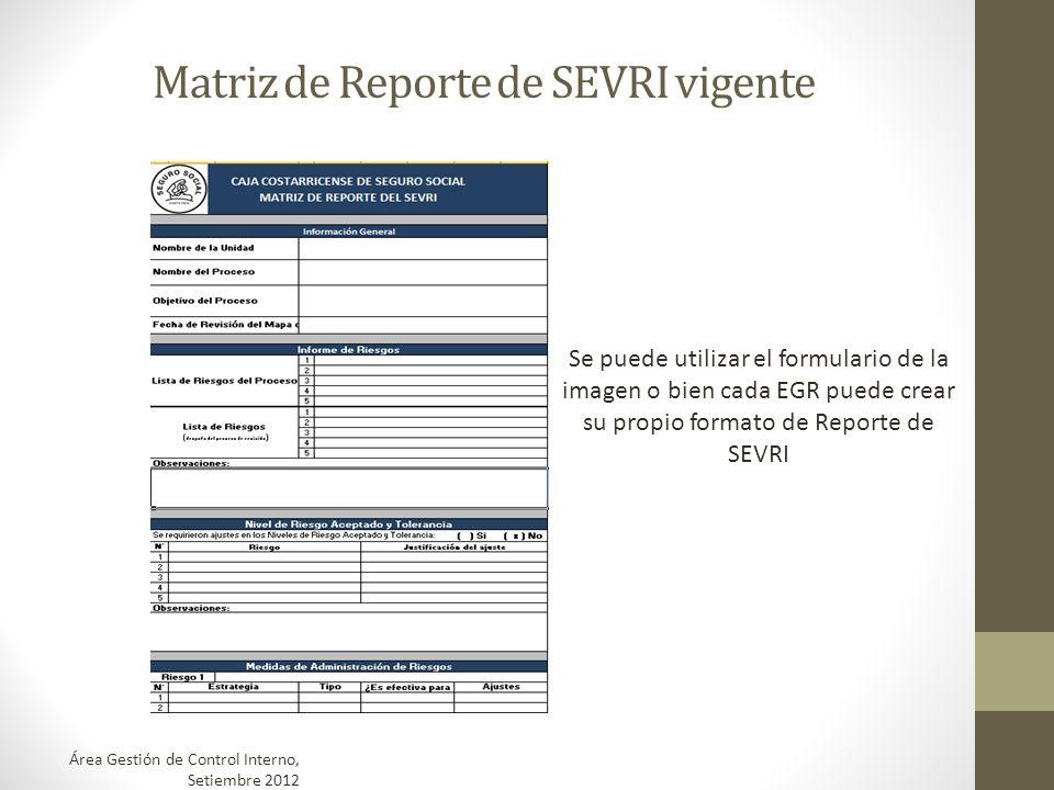 Se puede utilizar el formulario de la imagen o bien cada EGR puede crear su propio formato de Reporte de SEVRI Área Gestión de Control Interno, Setiem
