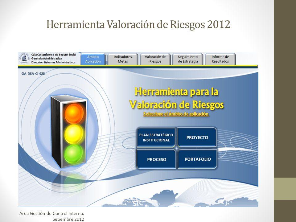 Herramienta Valoración de Riesgos 2012 Área Gestión de Control Interno, Setiembre 2012