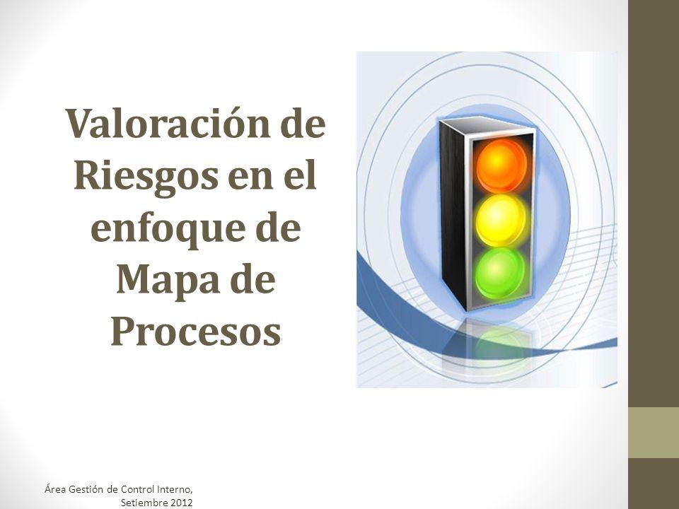 Valoración de Riesgos en el enfoque de Mapa de Procesos Área Gestión de Control Interno, Setiembre 2012