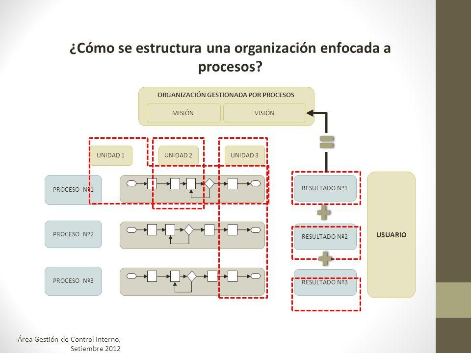 ¿Cómo se estructura una organización enfocada a procesos? PROCESO Nº1 PROCESO Nº2 PROCESO Nº3 RESULTADO Nº1 RESULTADO Nº2 RESULTADO Nº3 UNIDAD 1UNIDAD