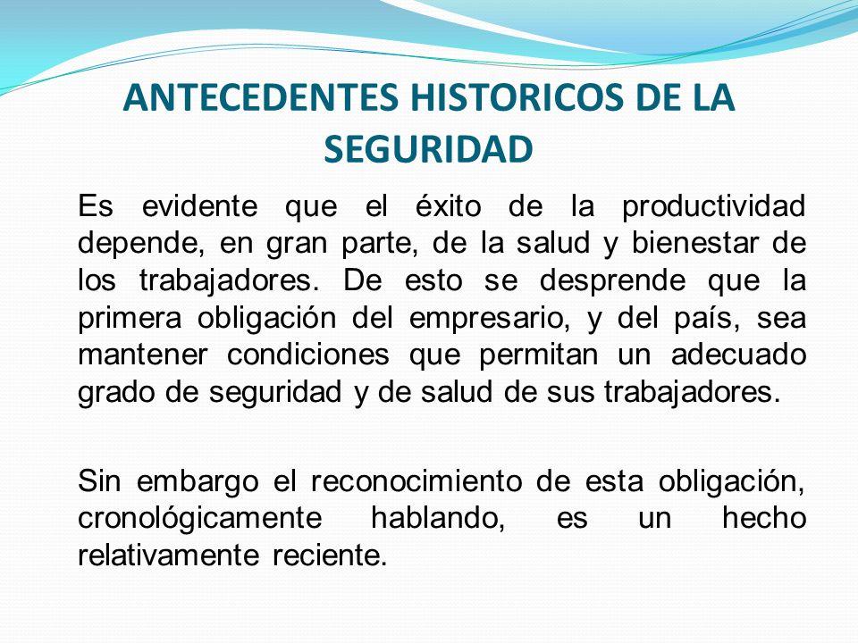 ANTECEDENTES HISTORICOS DE LA SEGURIDAD Es evidente que el éxito de la productividad depende, en gran parte, de la salud y bienestar de los trabajadores.