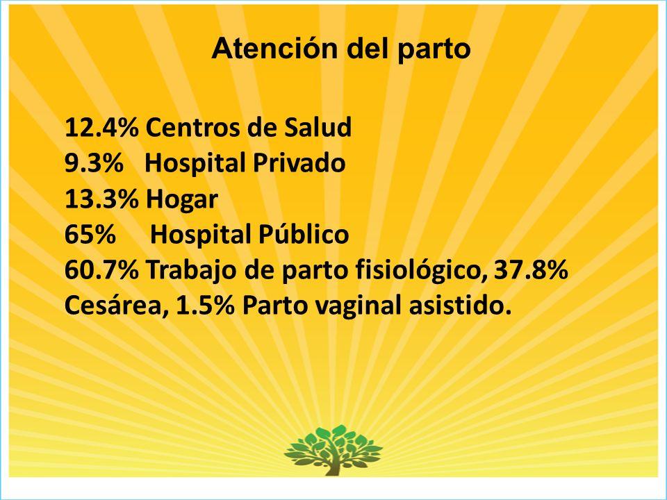Atención del parto 12.4% Centros de Salud 9.3% Hospital Privado 13.3% Hogar 65% Hospital Público 60.7% Trabajo de parto fisiológico, 37.8% Cesárea, 1.5% Parto vaginal asistido.