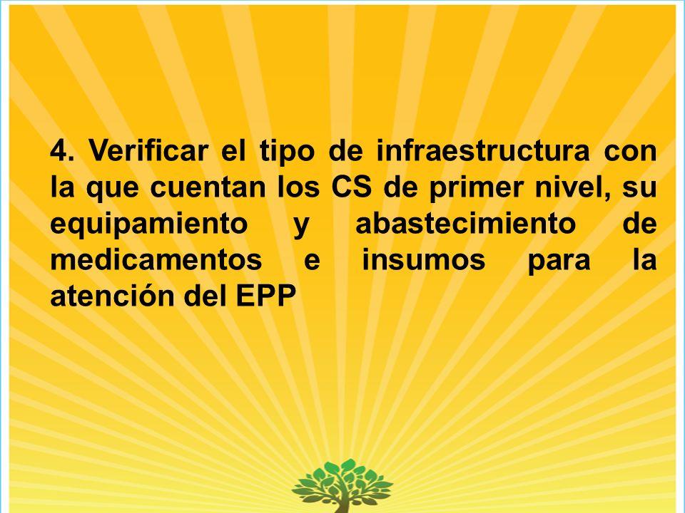 4. Verificar el tipo de infraestructura con la que cuentan los CS de primer nivel, su equipamiento y abastecimiento de medicamentos e insumos para la
