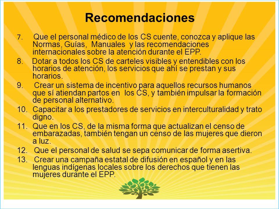 Recomendaciones 7.