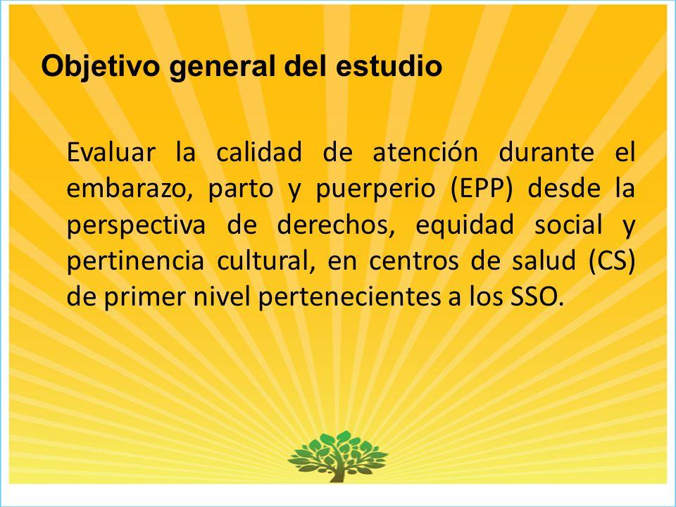 Objetivo general del estudio Evaluar la calidad de atención durante el embarazo, parto y puerperio (EPP) desde la perspectiva de derechos, equidad social y pertinencia cultural, en centros de salud (CS) de primer nivel pertenecientes a los SSO.