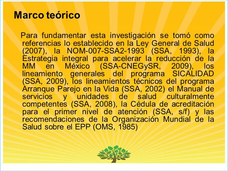 Marco teórico Para fundamentar esta investigación se tomó como referencias lo establecido en la Ley General de Salud (2007), la NOM-007-SSA2-1993 (SSA, 1993), la Estrategia integral para acelerar la reducción de la MM en México (SSA-CNEGySR, 2009), los lineamiento generales del programa SICALIDAD (SSA, 2009), los lineamientos técnicos del programa Arranque Parejo en la Vida (SSA, 2002) el Manual de servicios y unidades de salud culturalmente competentes (SSA, 2008), la Cédula de acreditación para el primer nivel de atención (SSA, s/f) y las recomendaciones de la Organización Mundial de la Salud sobre el EPP (OMS, 1985)