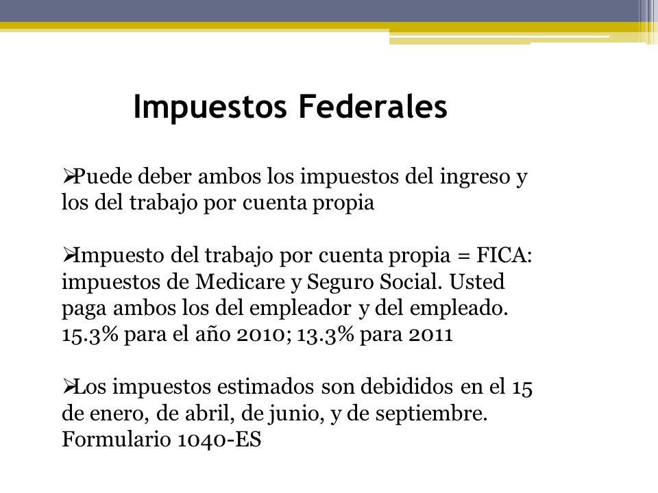 Impuestos Federales Puede deber ambos los impuestos del ingreso y los del trabajo por cuenta propia Impuesto del trabajo por cuenta propia = FICA: imp