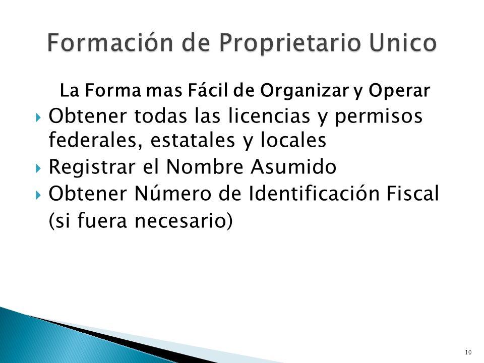 La Forma mas Fácil de Organizar y Operar Obtener todas las licencias y permisos federales, estatales y locales Registrar el Nombre Asumido Obtener Número de Identificación Fiscal (si fuera necesario) 10