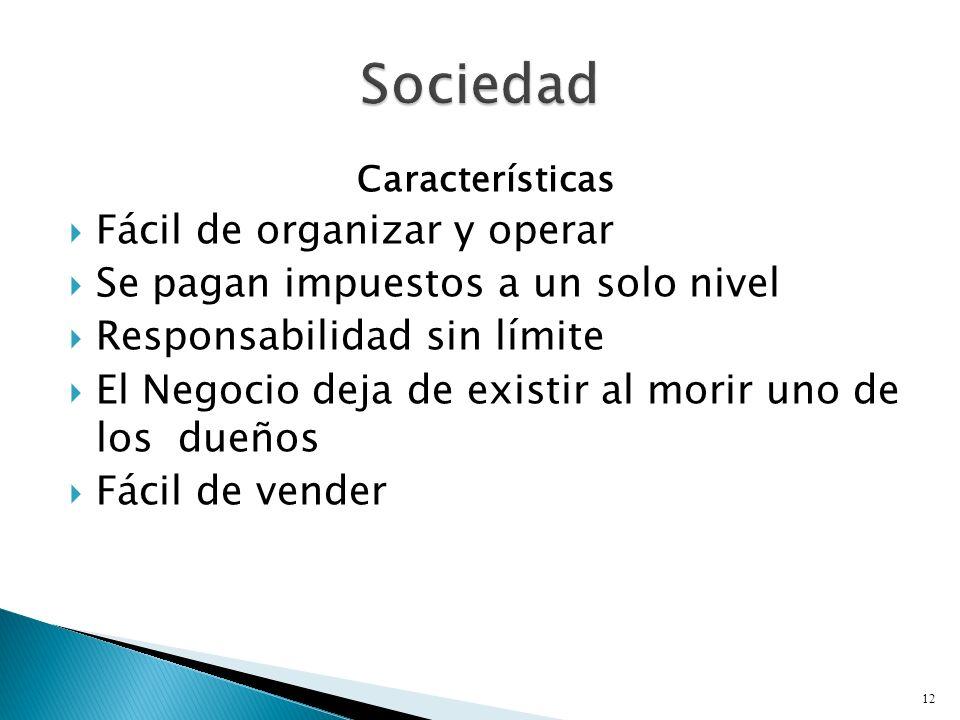 Características Fácil de organizar y operar Se pagan impuestos a un solo nivel Responsabilidad sin límite El Negocio deja de existir al morir uno de los dueños Fácil de vender 12