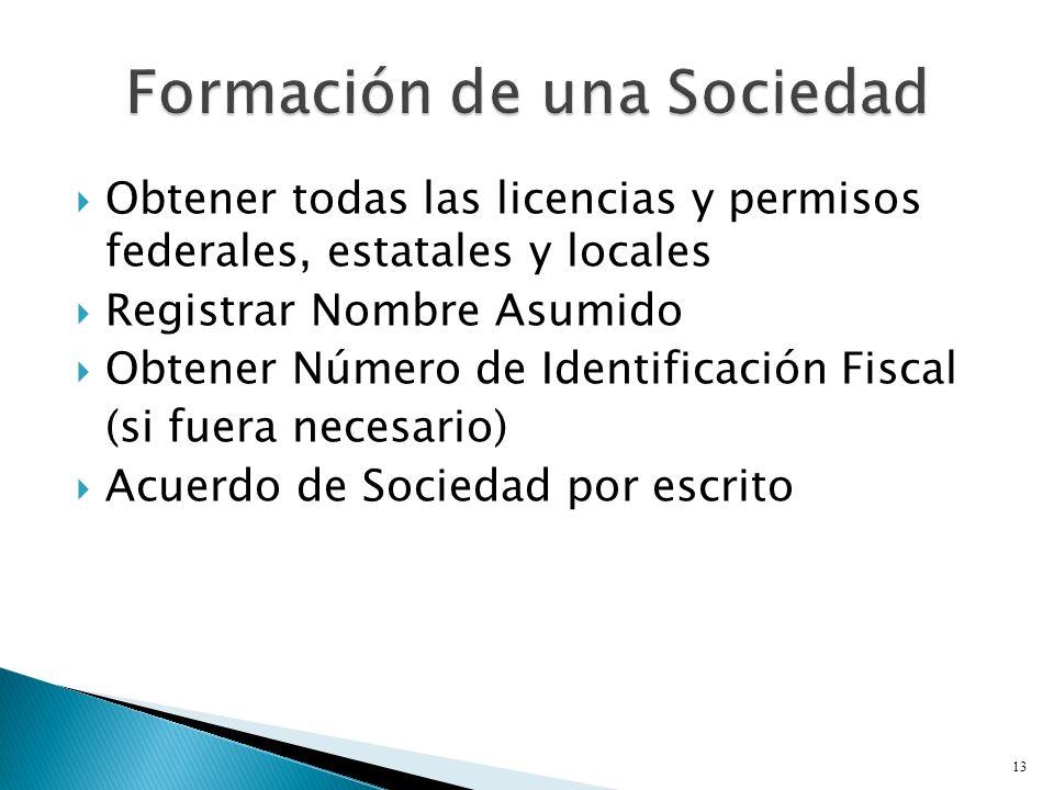 Obtener todas las licencias y permisos federales, estatales y locales Registrar Nombre Asumido Obtener Número de Identificación Fiscal (si fuera necesario) Acuerdo de Sociedad por escrito 13