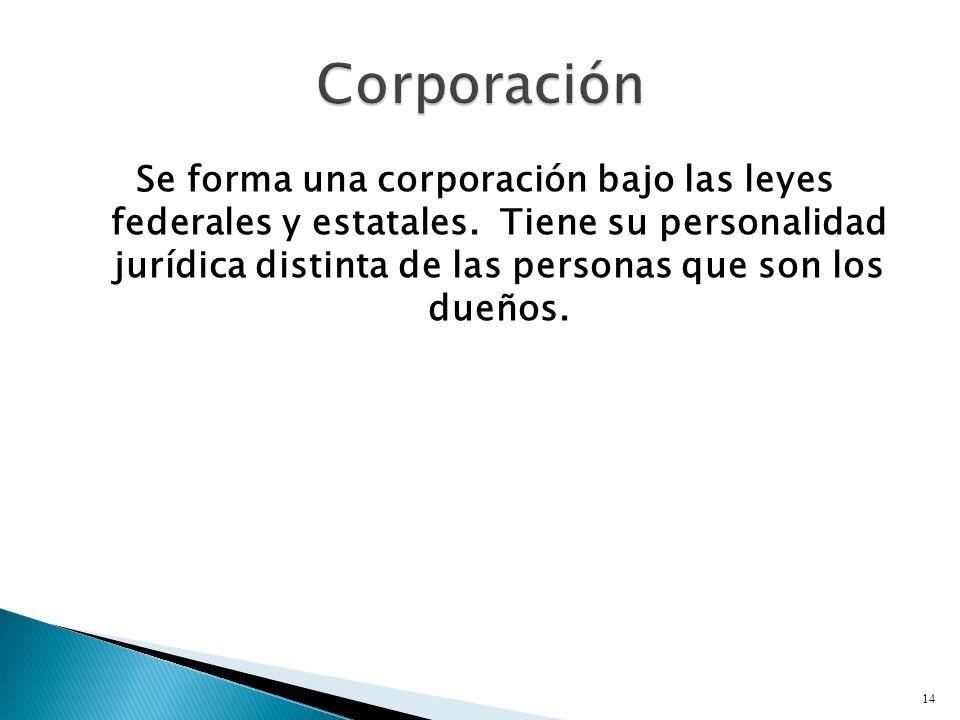 Se forma una corporación bajo las leyes federales y estatales.