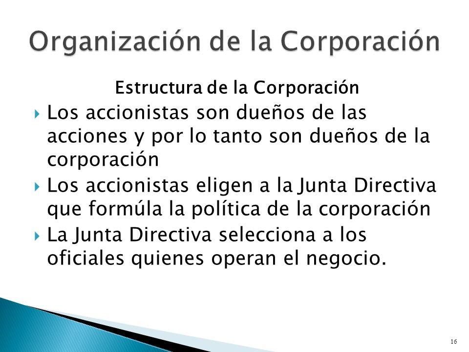 Estructura de la Corporación Los accionistas son dueños de las acciones y por lo tanto son dueños de la corporación Los accionistas eligen a la Junta Directiva que formúla la política de la corporación La Junta Directiva selecciona a los oficiales quienes operan el negocio.